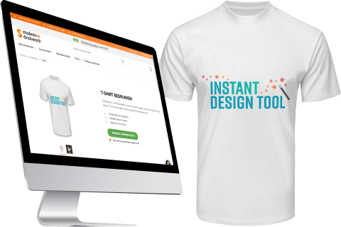Customization of a shirt with Instant Design Tool logo