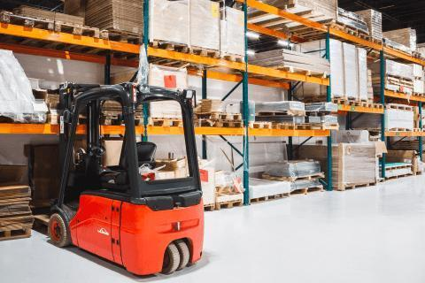 Forklift parked in a warehouse