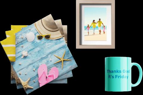 Customized holiday photos and mugs